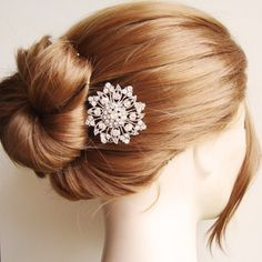Rhinestone Flower Bridal Hair Comb, Vintage Wedding Hair Comb, Bridal Hair Accessories, Old Hollywood Glamour, Bridal Head Piece, ADELE