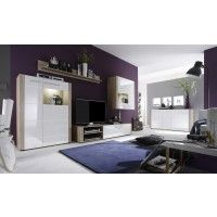 Wohnwand mit Sideboard weiss hochglanz/ Eiche sägerau hell Woody 93-00398