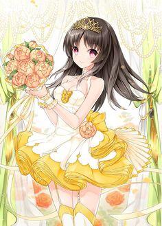 ✮ ANIME ART ✮ royalty. . .princess. . .tiara. . .formal dress. . .ruffles. . .stockings. . .garter. . .ribbon. . .bouquet. . .long hair. . .cute. . .kawaii