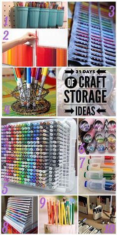 Welcome to day twenty-four of the 31 Days of Craft Storage Ideas. Today we are talking about storing pens, pencils and art markers. There's DIY, recyled and re-purposed storage ideas to keep your pens at your fingertips. I'm sure you'll find some creative ideas for storing your craft supplies here.