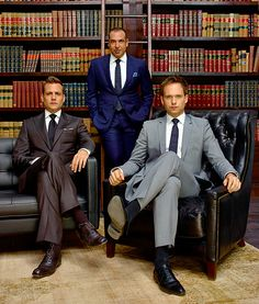 Find out the style secrets of Harvey Specter (Gabriel Macht), Mike Ross (Patrick J. Adams) and Louis Litt (Rick Hoffman) from USA Network's Suits — straight from the show's wardro… Serie Suits, Suits Tv Series, Suits Tv Shows, Suits Show, Harvey Specter Anzüge, Trajes Harvey Specter, Suits Harvey, Mike Suits, Suits Usa