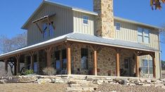 Lovely Metal Ranch Home w/ Wrap Around Porch in Texas! (HQ Plans & Pictures)   Metal Building Homes