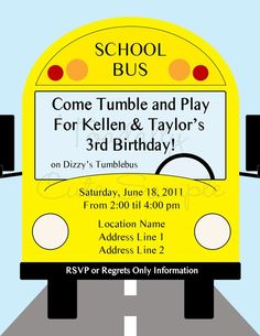 NEW - School Bus, Invitations, personalized set of 12 on Etsy, $18.00