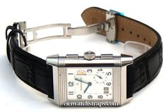 Black crocodile Watchstrap on butterfly deployant clasp Jaeger-LeCoultre Reverso