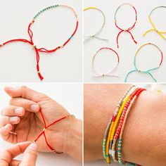 Modern Takes on DIY Beaded Bracelets Use seed beads to make these colorful friendship bracelets.Use seed beads to make these colorful friendship bracelets. Diy Beaded Bracelets, Beaded Jewelry, Handmade Jewelry, Embroidery Bracelets, Colorful Bracelets, Jewelry Necklaces, Handmade Bracelets, Silver Bracelets, Beaded Friendship Bracelets