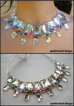 Rhinestone collar necklace with rainbow colors. #statement #jewelry #jewellery