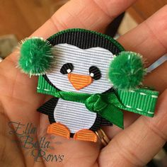 Winter Penguin Ribbon Sculpture Hair Clip Baby by EllaBellaBowsWI