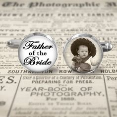 Wedding Photo Cuff Links - Accessories - Cufflinks - Father of the Bride - Custom Photo of Bride - Choice Size Finish & Lettering Color