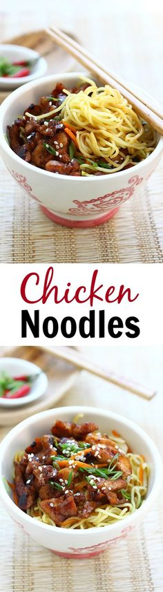 Stir-fried chicken noodles with chicken and egg noodles. This easy chicken noodles recipe is delicious, easy to make, and perfect for weeknight dinner | http://rasamalaysia.com