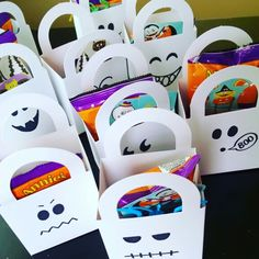 Candy-free boo bags: white dollar store favor bags, black marker, stickers, snack pack, and toy bugs. Halloween Favors, Halloween Treats, Goodie Bags, Favor Bags, Snack Pack, Free Candy, Sharpie, Creative Gifts, Ghosts