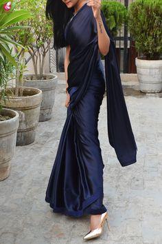 Buy Blue Satin Dupion Silk Taping Saree - Sarees Online in India Saris, Set Saree, Lehenga Saree, Indian Fashion Dresses, New Fashion Saree, Asian Fashion, Saree Designs Party Wear, Sarees For Girls, Blue Saree