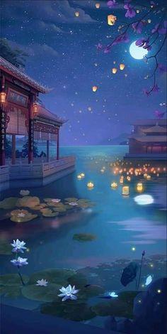 Anime Scenery Wallpaper, Pastel Wallpaper, Galaxy Wallpaper, Painting Wallpaper, Fantasy Art Landscapes, Fantasy Landscape, Fantasy Artwork, Fantastic Wallpapers, Pretty Wallpapers