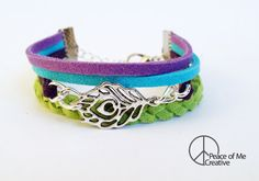 Layered Peacock Feather Bracelet