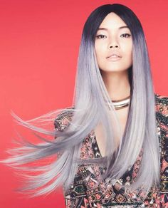 We're gaga over this purple to smoky lavender ombre color design by Ian Michael Black of Aveda! #hotonbeauty #smokypurple hotonbeauty.com