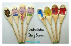 Double-Sided 3 Little Pigs Story Spoons by StoneCraftForYou Wooden Spoon Crafts, Wooden Spoons, Toddler Preschool, Preschool Activities, Communication And Language Activities, Story Sack, Traditional Tales, Story Stones, Book Corners