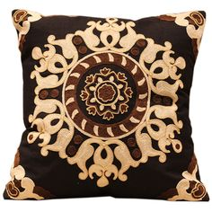 Black Royal Crown Embroidered Sofa Cushion Cover  100% Cotton 45*45cm Decorative Pillow Covers Room Vintage Decoration