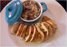 Peito de Frango Recheado com Maçã e um Risotto de Cogumelos e Queijo Brie
