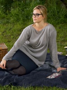 This is what relaxed elegance looks like.     This is a simple-to-sew, and draft yourself T-shirt made of flattering knit fabric with oval neckline and dropped shoulders.