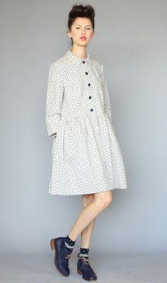 Karen Walker Oatmeal Dress Coat Linen Dot