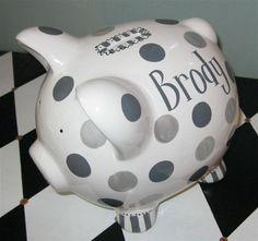 Piggy Bank Savile Personalized Ceramic Bank by PreppyPiggy on Etsy, $25.00