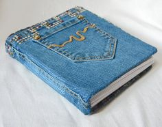 Upcycled Jean Journal with Pockets - Felt Lined - Rhinestudded and Gemed