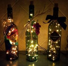 diy with wine bottles, Christmas lights, ribbons etc