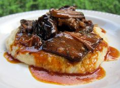 BBQ Pot Roast over Cheddar Ranch Grits | Plain Chicken. Looks like a manly meal my husband will like!