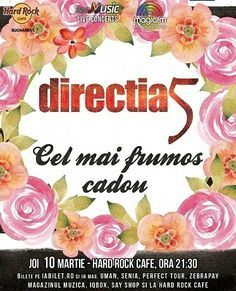 Azi, 10 Martie, de la ora 21:30, Concert Directia 5 la Hard Rock Cafe!  Detalii & Bilete >> http://www.vipstyle.ro/Eveniment_DIRECTIA_5