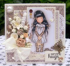 A Sprinkling of Glitter: Gorjuss Hugs & More Bees! - Addicted To Stamps & Simon Artist Group DTs. too cute and im loving the new Gorjuss girly designs xNx Pretty Cards, Cute Cards, Card Tags, I Card, Stamp Card, Santoro London, Shabby Chic Cards, Magnolia Stamps, Card Making Inspiration