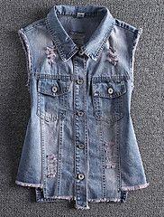 Feminino Jaqueta jeans Casual Simples Verão,Sólido Padrão Linho Colarinho de Camisa Sem Manga
