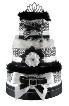 Handmade 3 Tier Elegant Black and White Damask by MagsDiaperCakes, $79.99