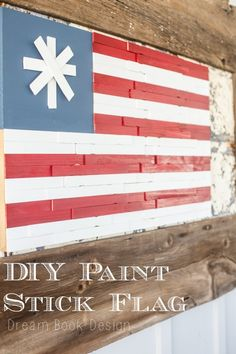 DIY Paint Stick American Flag - Easy 4th of July craft that cost less than $10, with free paint sticks from The Home Depot. Awesome!