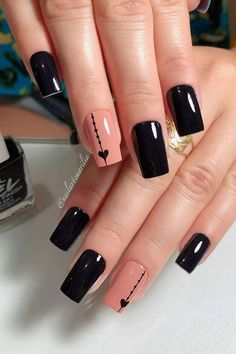 Cute Black Nail Designs Gallery 54 elegant black nail art designs and ideas unhas bonitas Cute Black Nail Designs. Here is Cute Black Nail Designs Gallery for you. Cute Black Nail Designs the most beautiful black winter nails ideas stylish . Nail Design Spring, Winter Nail Designs, Winter Nail Art, Black Coffin Nails, Black Nail Art, Cute Black Nails, Black Art, Nail Art Hacks, Nail Art Diy