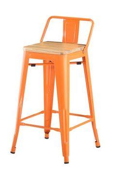 b60f2fba6e5 Tolix Bar Stool with Backrest and Wood Seat - 65 cm - Orange   Yellow