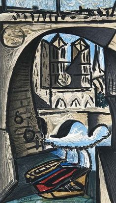 Picasso, Pablo - nach. (1881 Malaga - 1973 Mougins). Notre Dame. 1979. Farblithographie auf Holland-
