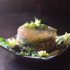 From Apicius, a 2000 year old molded salad with chicken, cucumber, onion and pine nuts and a delicious celery seed dressing. As delicious as it is beautiful!