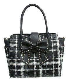 Black Plaid Sincerely Yours Tote Betsey Johnson
