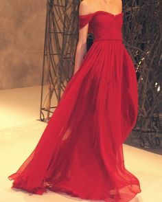 2014 New Design Custom Made Off Shoulder Chiffon Red Floor Length Prom Dresses $132.00