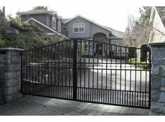 As with all our products, our driveway gates are manufactured at our own facility using either aluminum or wrought iron. Description from newcustomiron.com. I searched for this on bing.com/images