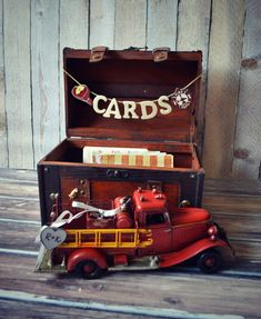 Fire Fighter Wedding-wedding Trunk-wedding Card Holder-wedding Card Holder-wood…