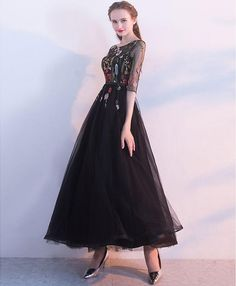 Black lace tulle long prom dress, evening dress Evening Dresses, Prom Dresses 2018, Tulle Prom Dress, Tulle Lace, Fashion Ideas, Women's Fashion, Everyday Dresses, Barbie Dress, Dress And Heels