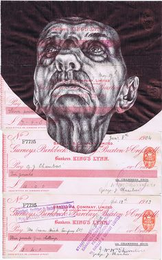'8 minutes approval for a Vatican loan (celestial tales)' Bic biro drawing on a collection of antique cheques.