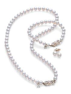 Akoya Strand, Studs & bracelet Set  - White Gold