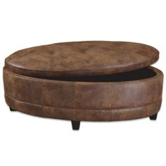 Gentil XL Large Oval STORAGE OTTOMAN Coffee Table Faux Leather