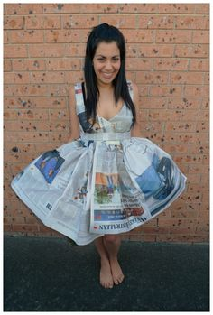 Day 109: Recycled clothing newspaper dress #costume. Theme Me is a blog that follows a personal challenge to dress to a different theme everyday for a whole year.