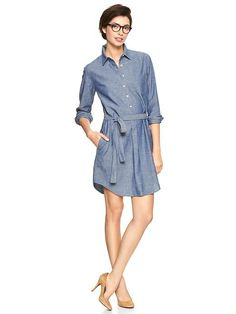 Chambray shirtdress - would be great over skinnies, too!