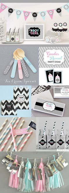 Gender Reveal Straws Flags Gender Reveal Party Ideas by ModParty