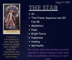 The Star Tarot Meaning, Star Meaning, Major Arcana Cards, Tarot Major Arcana, Tarot Card Meanings, Tarot Readers, Tarot Spreads, Magic Spells, Oracle Cards
