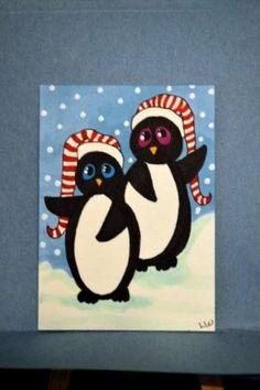 #LWick #ACEO Original animal winter scene penguin hat snow