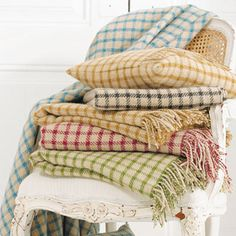 Gingham throws in shetland wool.